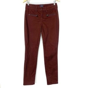 NYDJ Plum Maroon Brown Hue Lift Tuck Soft Skinny Jeans With Front Zipper Size 4
